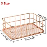 TO_GeT For Home Tools_TgT Metal Mesh Storage Baskets Sundries Cosmetics Holder Organizer Home Office Table Decoration Rose Gold Size S