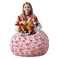 Aubliss Stuffed Animal Bean Bag Storage Chair, Beanbag Covers Only for Organizing Plush Toys. Turns into Bean Bag Seat for Kids When Filled. Premium Cotton Canvas.