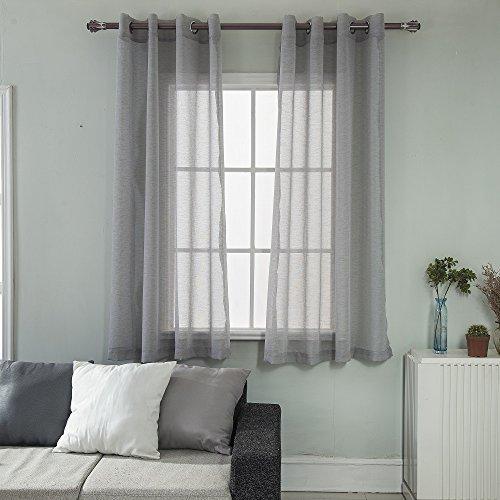 DMMX Window Treatment Grommet Top Linen Look Sheer Curtains for Bedroom, Set of 2 Panels, W52