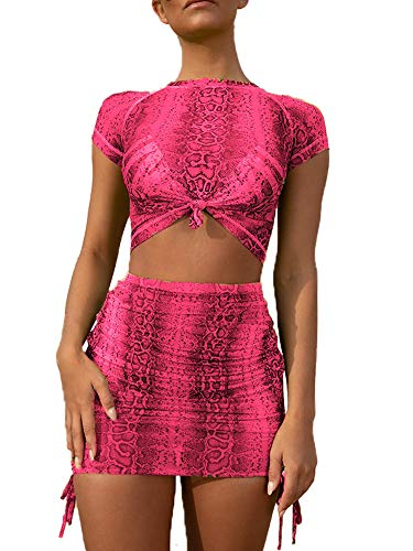 Women 2 Piece Outfit Snakeskin Mesh Crop Top Bodycon Mini Skirt Set Party Clubwear S Pink