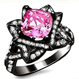 Smjewels 2.05 Ct Cushion Cut Pink Sapphire & Sim.Diamond Lotus Flower Ring 14K Black Gold Fn
