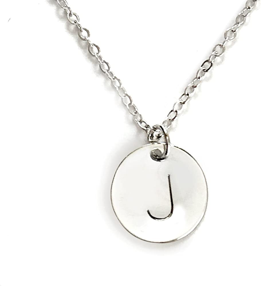 Silver initial necklace letter necklace everyday necklace for women sterling silver initial  necklace silver disc necklace
