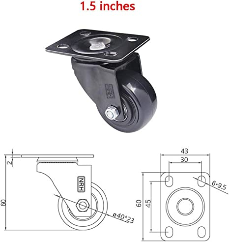 4 Pieces MUMA Casters Wheels 1 Inches Mute Rubber Swivel Threaded Stem Trolley Furniture Caster with Brakes Color : 4 Packs, Size : 1 inch M8