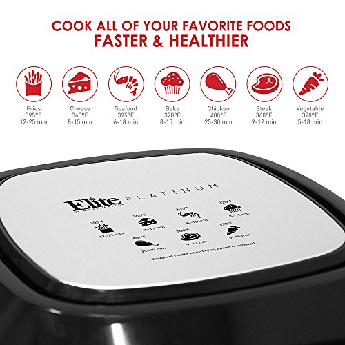 Elite Platinum EAF-1616 Electric Digital Hot Air Fryer Oil-Less Healthy Cooker with Extra Large Capacity-4 Lbs of Food, 7 Menu Functions, PFOA/PTFE Free, 1800-Watts with 26 Recipes, 5.5 Quart, Black