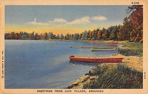Lake Village Arkansas Row Boat Waterfront Greeting Antique Postcard K80589