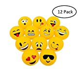 Srenta Inflatable 16'' Soft Emoji Beach Balls | Great for Sand and Water Play or Swimming Pool & Birthday Party Favor Toy (1 Dozen)