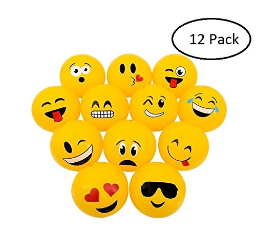Srenta Inflatable 16'' Soft Emoji Beach Balls | Great for Sand and Water Play or Swimming Pool & Birthday Party Favor Toy (1 Dozen) by Srenta