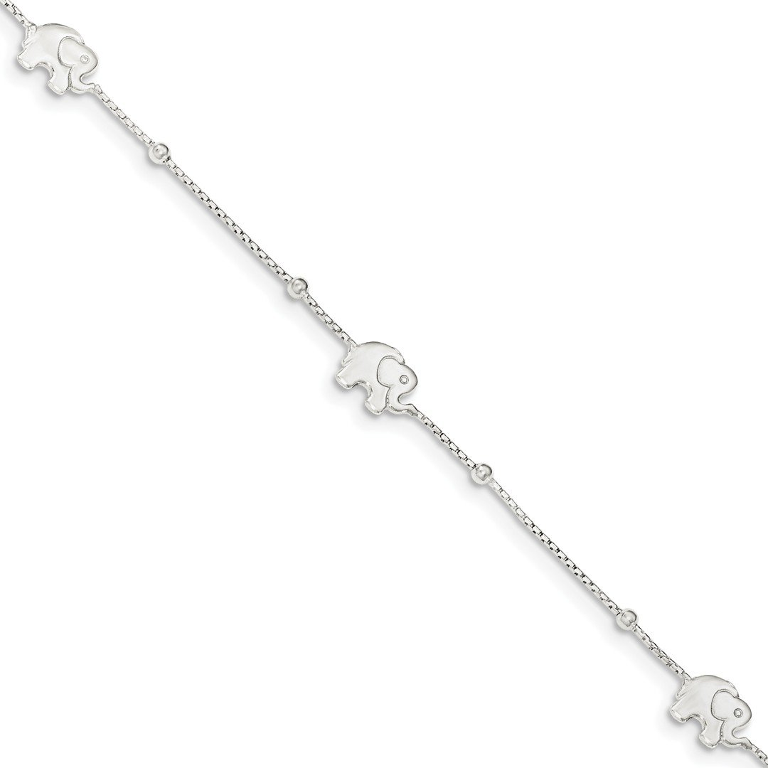 Ankle Bracelet Foot Jewelry Anklet - ICE CARATS 925 Sterling Silver Elephant 2 Inch Adjustable Chain Plus Size Extender Anklet Ankle Beach Bracelet Animal Fine Jewelry Ideal Gifts For Women Gift Set