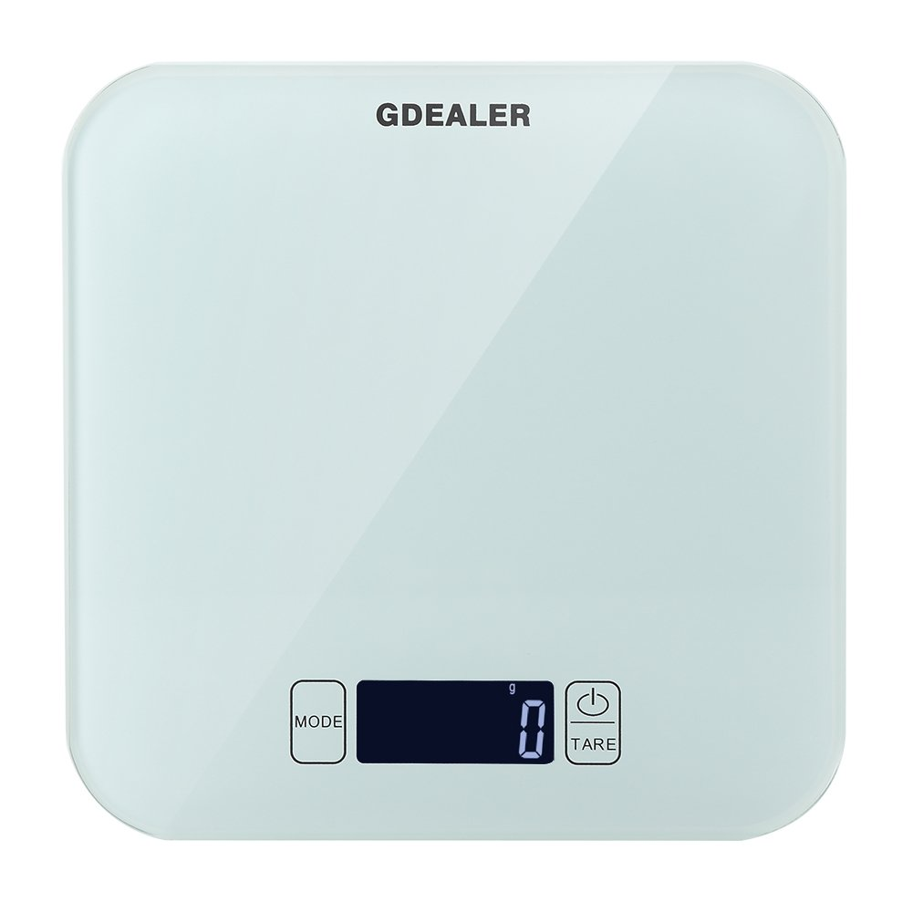 GDEALER Kitchen Scale 22lb/10kg Digital Kitchen Food Scale, Tempered Glass Surface Touch Screen, High Precision, Tare, White Backlit Display, Smart Weigh by ...