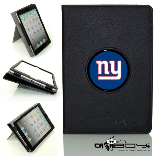 Nfl Personalized Picture (New SLEEP SMART Apple iPad Mini & iPad Mini with Retina leather Case By Calaboy- Interchangeable Design - Personalized Picture Frame w N.Y. Giants Logo (FB30))
