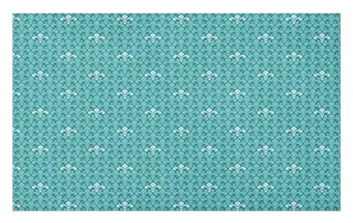 Lunarable Fleur De Lis Doormat, Monochrome Medieval Motifs Pattern French Royal Lily Victorian, Decorative Polyester Floor Mat with Non-Skid Backing, 30 W X 18 L Inches, Turquoise Pale ()