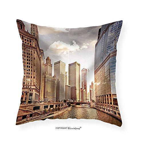 VROSELV Custom Cotton Linen Pillowcase Chicago Skyline at Sunset - Fabric Home Decor 26