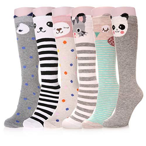 LongGe 4/6 Pairs Girls Knee High Socks Winter Animal Cartoon Patterned Children Warm Cotton Stockings (6 Pairs ()