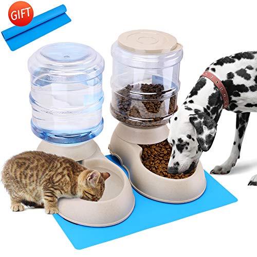 Self-Dispensing Gravity Pet Feeder and Waterer Set Dry Cat Dog Food Feeder and Water Dispenser Bundle with Pet Food Mat