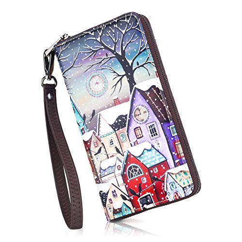 APHISON Wallets for Women Card Holder Zipper Purse Phone Clutch Wallet Painting Wristlet with Wrist Strap/Gift Box (684-0028)
