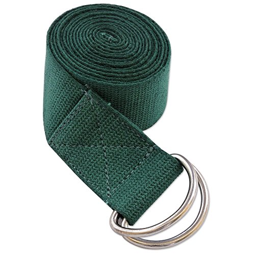 Metal D-ring Cotton Yoga Belt Straps 6 and 8 Foot (Green, 6 Foot)