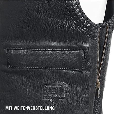 Gr/ö/ße 4XL Schwarz Bores Sunride 5 Leder Lederweste mit Seitlicher Weitenverstellung