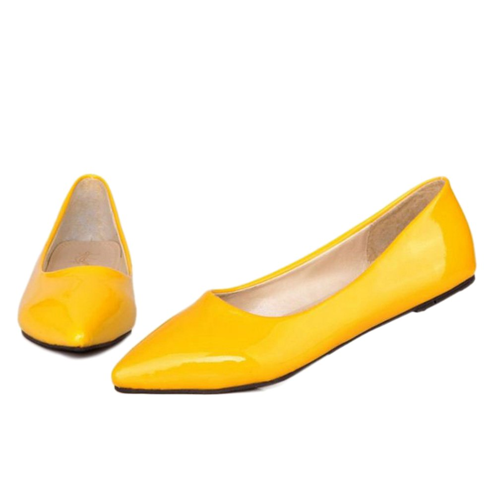 Smilice Women Flats Patent Leather Pointed Toe Slip-on Shoes 6 Colors Available Size 1-13 US B06XCYZT64 44 EU = US 11 = 27 CM|Yellow