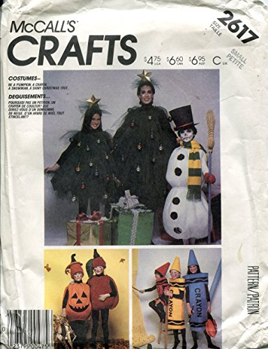 Pattern Costume Hat Crayon (McCall's Crafts Pattern 2617 Costumes (Pumpkin, Apple, Crayon, Snowman, Christmas Tree), Size Small (Bust 32 1/2 -)