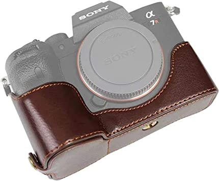 Handmade Genuine Real Leather Half Camera Case Bag Cover for Sony A7R IV A7R 4 A7R M4 Black Color