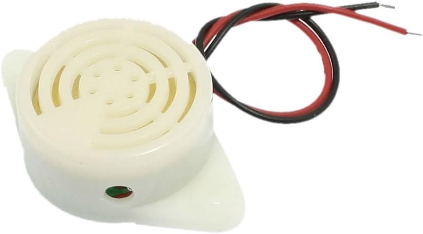 Color Blanco Sourcingmap/ /a12091800ux0721/DC 3/ /24/V 2/Cables Industrial Continuo Sonido electr/ónico Zumbador 90/db