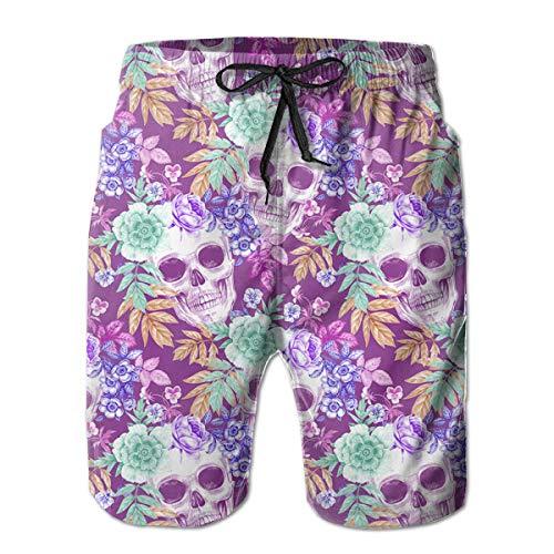 YongColer Mexican Sugar Skulls Flowers Purple Cargo Short Men & Boys Breathable Swim Trunks for Beach Outdoor Hiking Fast Dry Adjustable Drawstring Basic Half Pants with Pocket Sportwear -