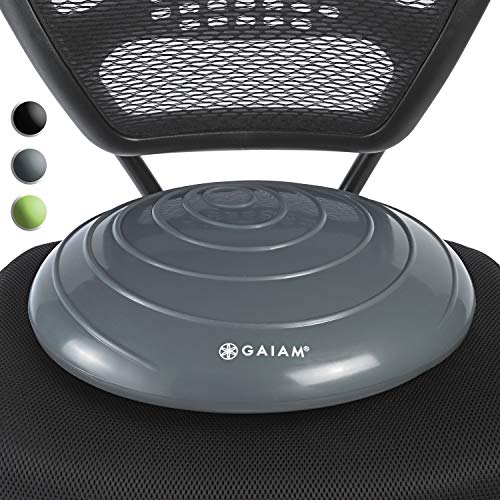 Posture Ball Chair - Gaiam Balance Disc Wobble Cushion Stability Core Trainer for Home or Office Desk Chair & Kids Classroom Sensory Wiggle Seat, Grey