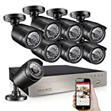 Upgrade 8CH 720P H.264 Security Camera System DVR and 8 x 1.0MP 720P(1280TVL) Indoor Outdoor Weatherproof CCTV Bullet Cameras with Easy DIY and Smart Motion Detection
