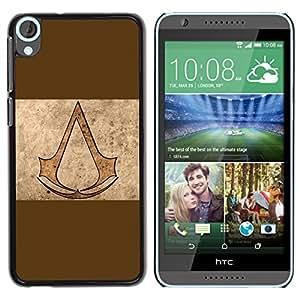 EJOY---Cubierta de la caja de protección la piel dura para el / HTC Desire 820 / --Asesinos de Brown
