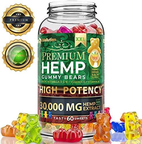 Hemp Gummies Premium XXL 30000 MG High Potency - 500 Per Fruity Gummy Bear with Hemp Oil | Natural Hemp Candy Supplements for Pain, Anxiety, Stress & Inflammation Relief | Promotes Sleep & Calm Mood