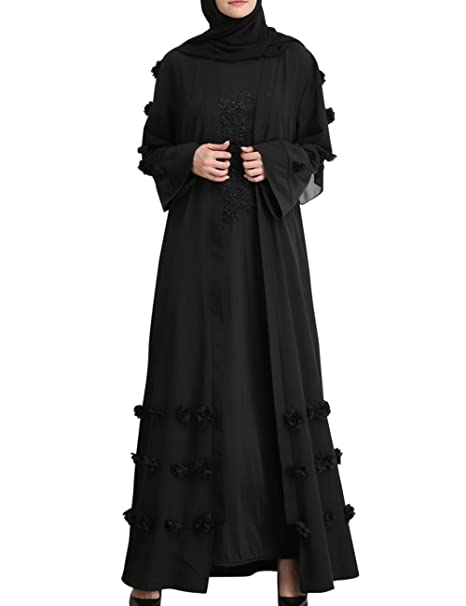 c959d6b695d besbomig Flower Muslims Long Robes Loose Cardigan Casual Kaftan Dresses  Tunic - Middle East Arab Prayer Maxi Abaya Dress  Amazon.co.uk  Clothing