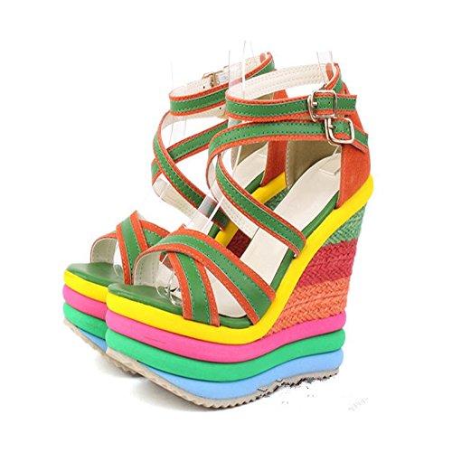 LvYuan Sandalias del verano de las mujeres / oficina y carrera / talón ultra ultra atractivo / plataforma impermeable / talón de cuña / color del arco iris / hebilla / estilo nacional bohemio Green