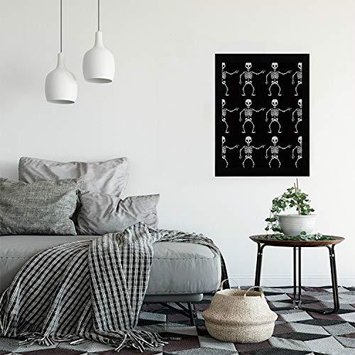 Wood Art Wall Decor Black White Dead Dance Skeletons Wallpaper Modern Wooden Framed Vintage Wall Art Painting Print Hangings for Bedroom Living Room Mini Wall Art