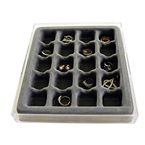 Earring and Ring Jewelry Organizer with Velvet Tray, US Patented