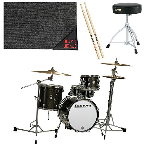 Ludwig Breakbeats by Questlove 4-Piece Shell Pack Black Sparkle Chrome Hardware with Tama HT130 Leg Throne, Kaces Econo Drum Rug, and 5A Drum Sticks