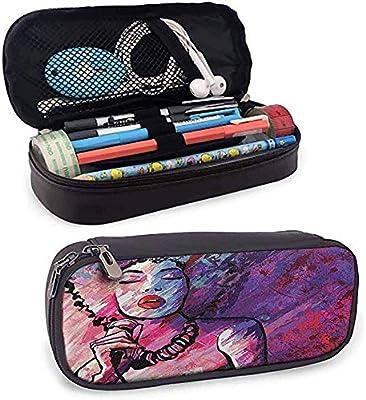 Estuche de lápices casero de Grunge Cantante de jazz con micrófono sobre fondo Grunge Ilustración Púrpura y rosa lindo: Amazon.es: Oficina y papelería