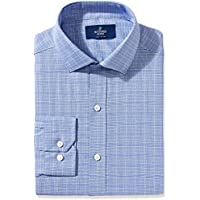 Buttoned Down Men's Fitted Spread-Collar Pattern Non-Iron Dress Shirt Without Pocket