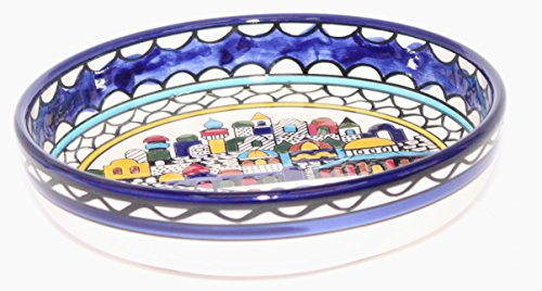 Jerusalem City Walls and Gates View Armenian Ceramic Bowl - Medium (6 inches in Diameter and 1.5 inches deep)