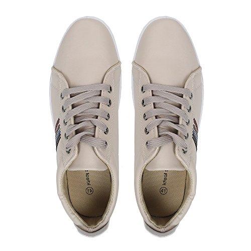 Ideal Shoes–Sneaker Herren mit Detail auf der Seite Carl, Beige - Beige - Beige - Größe: 42