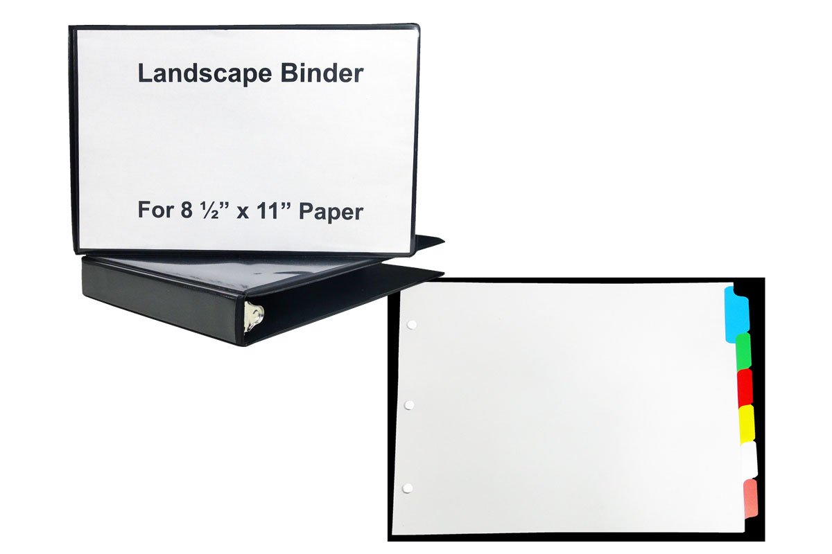 1 1/2'' Black Heavy Duty Landscape Binder with - 1 Set of 6 Color Blank tabs - Both for 8 1/2'' x 11'' Standard Size Paper- Tabs are Printable