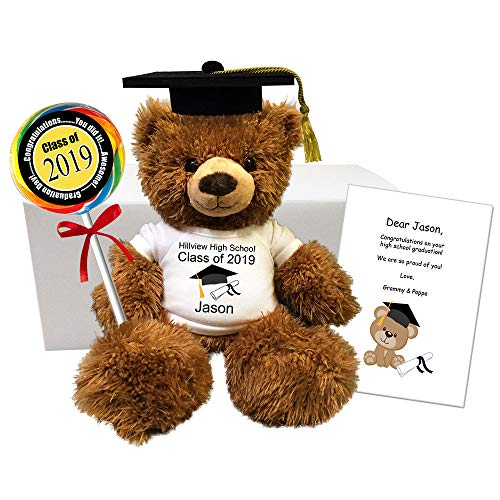 (Personalized Graduation Teddy Bear Gift Set - 12 Inch Fuzzy Brown Bear Class of 2019)