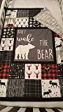 Lumberjack Baby Crib Quilt Soft and cuddly with soft Grey arrow minky back, Moose,Bear,Deer swaddle blanket