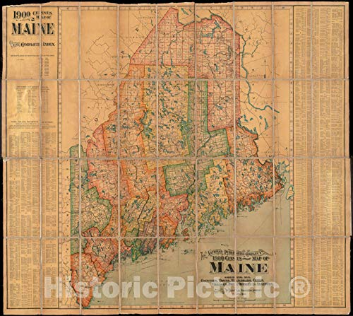 Historic Pictoric Map, c.1901 The National Publishing Company's 1900 census map of Maine : showing all counties, towns, railroads, cities, villages, post offices and stations, Vintage Wall Art : 53in x 44in (A Map Of Maine With Towns And Cities)