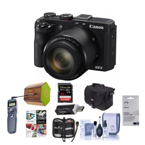 (Canon PowerShot G3-X Digital Camera - Bundle with Camera Case, Spare Battery, 16GB SDHC Card, Cleaning Kit, Screen Protector, Pro Software Package, Wired Shutter Release, Memory Wallet, Card Reader)