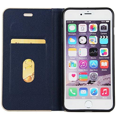 Wkae Cowhide Texture PC Stoßfänger Starke magnetische Adsorption Horizontale Flip Leder Tasche mit Card Slots & Halter für iPhone 6 Plus & 6s Plus ( Size : Ip6p7570l )