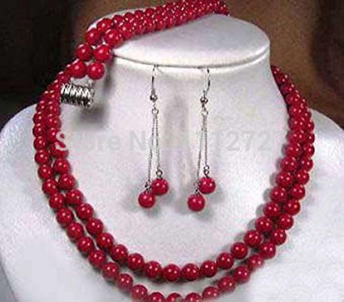 Rows Red Coral Bracelet (Prime Leader Hot 2015 New Fashion Beads 2 Rows Tibet Red Coral Necklace Earring Bracelet Jewelry Set Natural Stone Bv383)