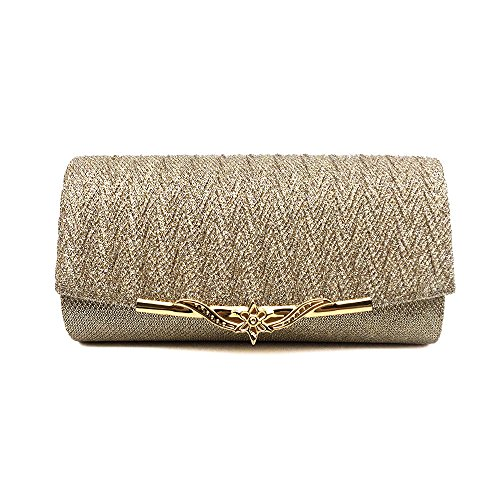 Ladies champagne XIAOLONGY European Fashion Bag And American Bag Metallic Satin Bag Explosions Messenger Clutch Evening Bag wSw4vqf
