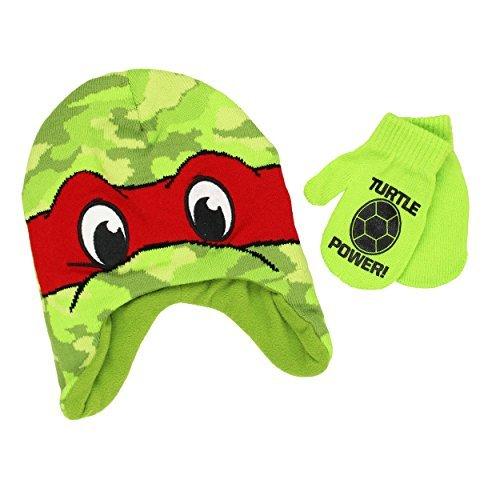 Teenage Mutant Ninja Turtles Boys Beanie Hat and Mittens Set (One Size, Multicolor)