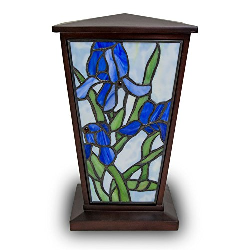 Iris Stained Glass Memorial Urn for Adults - Large - Holds Up to 200 Cubic Inches of Ashes - Light Blue Cremation Urn for Ashes - Engraving Sold Separately