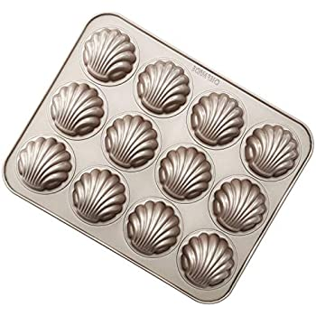 CHEFMADE Madeleine Mold Cake Pan, 12-Cavity Non-Stick Spherical scallop Madeline Bakeware, FDA Approved for Oven Baking (Champagne Gold)